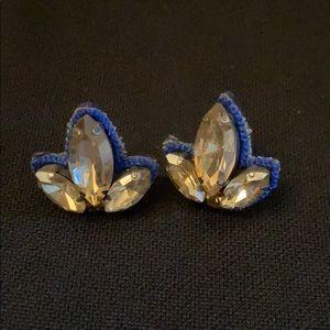 Blue rhinestone lily cluster earrings